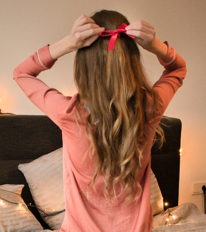 Long curls with satin bow