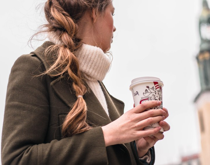 Long braid and startbucks cup