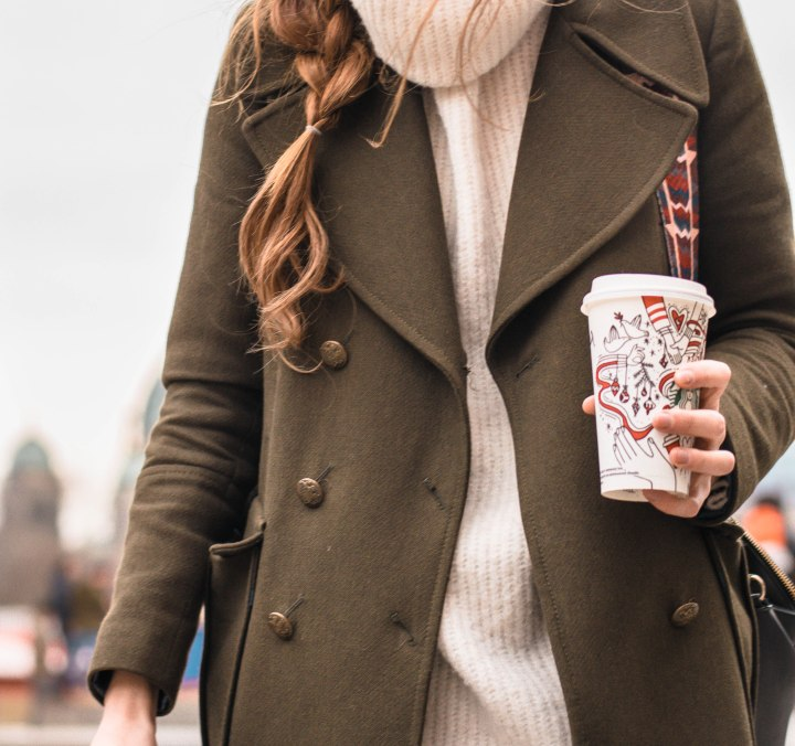 Winter outfit and starbucks cup
