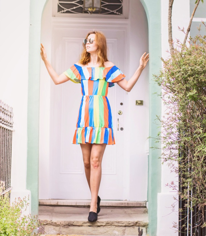 Rainbow dress with toms shoes