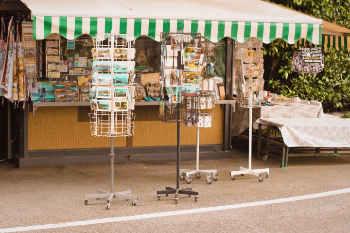 Postcard and news stand at Lake Como