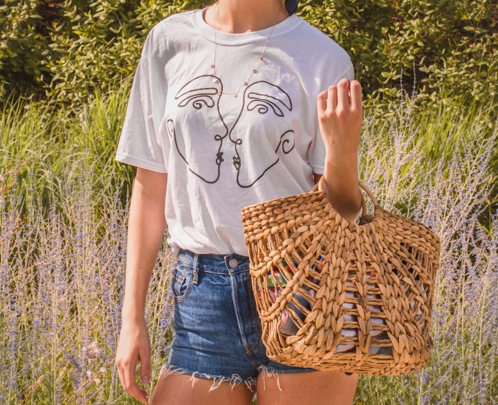 Asos artistic Tshit and rattan bag