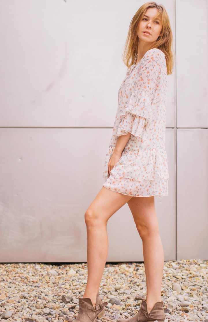 white summer dress with suede boots