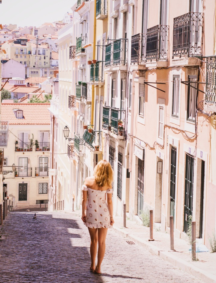 white summer dress in lisbon