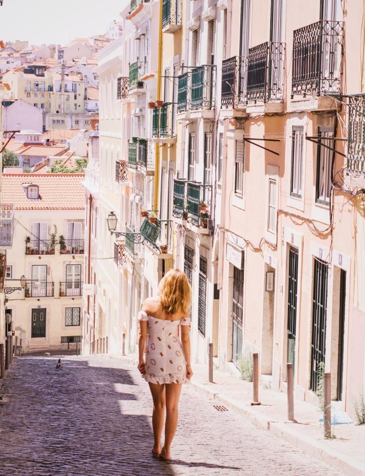white summer dress in lisbon